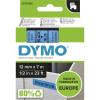 Dymo D1 Label Cassette Tape 12mmx7m Black on Blue