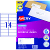 Avery Quick Peel Address Laser Labels L7163 99.1x38.1mm White 1400 Labels, 100 Sheets