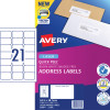 Avery Quick Peel Address Laser Labels L7160 63.5x3 8.1mm White 2100 Labels, 100 Sheets