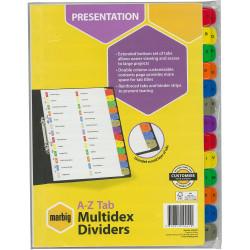 Marbig Manilla Divider A4 Multidex A-Z Tab Multi Colour
