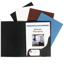 Marbig Professional Series Presentation Folders A4 Leathergrain Black Pack Of 10
