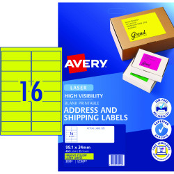 Avery High Visibility Shipping Laser Labels L7162FY 99.1x34mm Fluoro Yellow Pack of 25 (400
