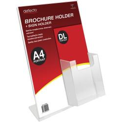 Deflect-O Sign Holder Slanted A4 Sign Holder With Top Mount DL Brochure Holder Portrait