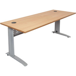 Rapid Span Open Straight Desk 1800Wx700mmD Modesty Panel With Beech Top & Silver Steel Frame
